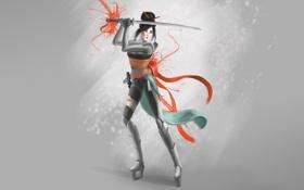 Обои девушка, краски, сапоги, арт, азиатка, серый фон, катанаЮ меч