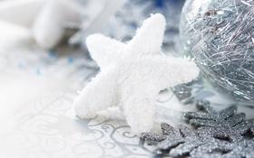 Картинка шар, снежинка, звёздочка, ёлочные украшения