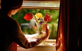 Картинка девушка, цветы, уют, дом, настроение, окно