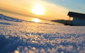 Обои солнце, Снег, горизонт, домик