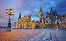 Обои небо, огни, дома, вечер, Германия, Дрезден, площадь