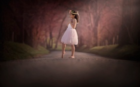 Картинка дорога, платье, девочка