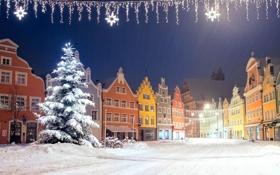 Обои город, дома, зима, снег, новый год, елка
