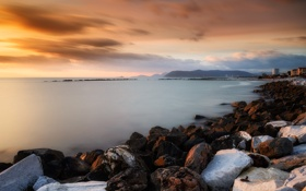 Обои rock, sea, sunset, italy, marina di massa