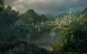Обои лес, пейзаж, город, радуга, пирамиды, водопады, game wallpapers