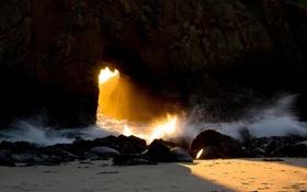 Обои скала, океан, California, Big Sur, McWay Falls, Julia Pfeiffer Burns State Park