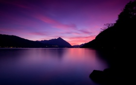 Картинка небо, озеро, Lake Thun Sunset