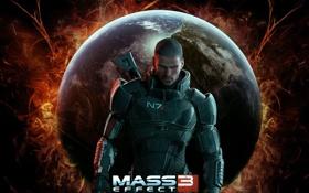 Картинка огонь, планета, Земля, Шепард, Mass Effect 3
