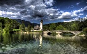 Обои облака, Bohinj, лес, дом, башня, озеро, Словения