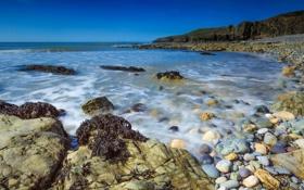 Картинка камни, берег, Волна