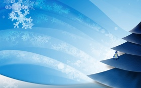 Обои снежинки, ёлка, ёлочное украшение