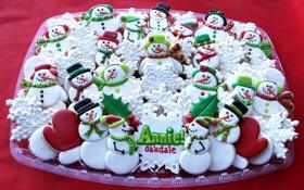 Картинка снежинки, новый год, печенье, сладости, снеговики, Christmas, выпечка