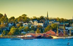 Обои город, фото, побережье, дома, Канада, Lunenburg, New Scotland