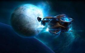 Обои космос, туманность, корабль, планета, спутник, Heart of the Swarm, StarCraft