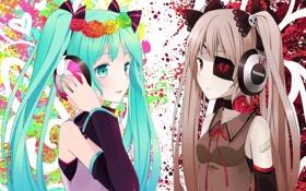 Картинка vocaloid, девушки, hitsukuya, аниме, наушники, арт, hatsune miku