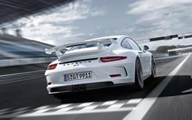 Картинка авто, разметка, трасса, 911, Porsche, GT3, задок