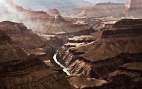 Обои скалы, вечер, каньон, дымка, аризона, grand, canyon