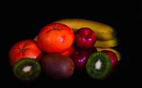 Обои фон, краски, киви, фрукты, банан, мандарин