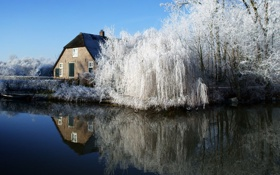 Картинка зима, деревья, природа, озеро, дом, фото
