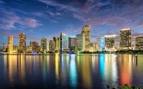 Обои закат, город, огни, океан, здания, Майами, небоскребы