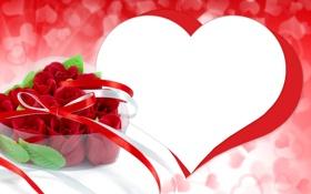 Обои фото, Цветы, Сердце, Розы, День святого Валентина, Праздники
