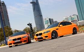 Обои BMW, City, Orange, Matte, Tuning, F10