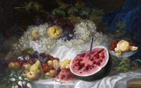 Картинка ягоды, картина, арбуз, фрукты, Натюрморт, Эухенио Лукас Веласкес