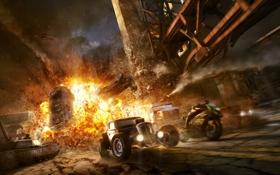 Обои дорога, машины, взрыв, ночь, мост, вертолеты, мотоцикл