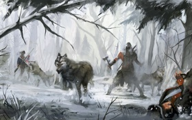 Картинка лес, волки, assassins creed 3, коннор