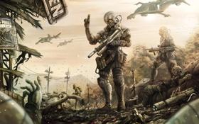 Обои gun, soldier, helmet, destruction, special costume