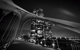 Картинка ночь, мост, город, огни, Bridge, Night, Ontario