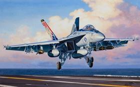 Обои истребитель, авиация, авианосец, самолёт, Boeing F/A-18E, Super Hornet