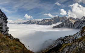 Обои небо, облака, горы, вершины, Германия, Бавария, Альпы