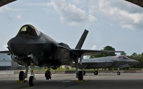 Обои ВВС США, Lightning II, F-35, Истребителей-бомбардировщик