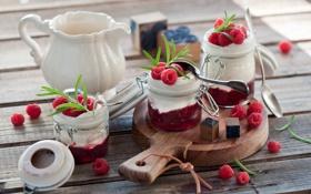 Обои завтрак, yogurt, Breakfast, raspberry, малина, йогурт