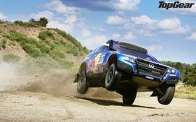 Обои небо, Volkswagen, джип, внедорожник, Top Gear, полёт, кусты