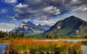 Обои осень, лес, небо, деревья, горы, озеро, канада