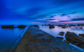 Обои rock, sea, sunset, night