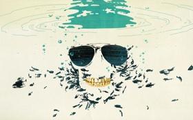 Картинка вода, рыбы, череп, skull, water, fish
