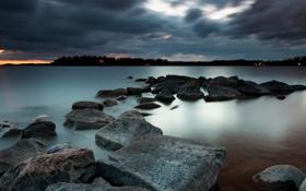 Картинка ночь, озеро, камни