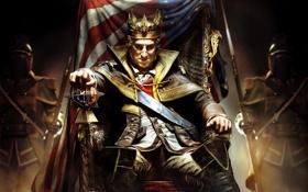 Обои кресло, флаг, америка, трон, король, George Washington, Assassin's Creed III