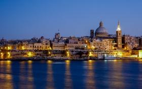Обои Мальта, небо, ночь, зеркало, огни, город, Слима