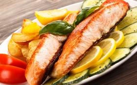 Обои Рыба, фото, Еда, Лимоны, Морепродукты, Огурцы