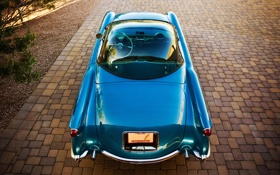 Обои дерево, брусчатка, Corvette, Chevrolet, автомобиль, 1954, Bubbletop