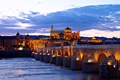 Картинка река, дома, ночь, Испания, мост, огни, Кордова
