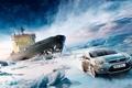 Картинка небо, снег, лёд, фокус, буксир, ice, ford