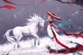 Картинка зима, девушка, снег, улыбка, дерево, лошадь, зонт