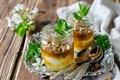 Картинка цветы, мед, орехи, мята, десерт, веточки, ложки