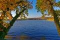 Картинка осень, деревья, река, Германия, Ulmen
