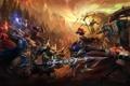 Картинка арт, битва, персонажи, League Of Legends, Jarvan IV vs Nocturne